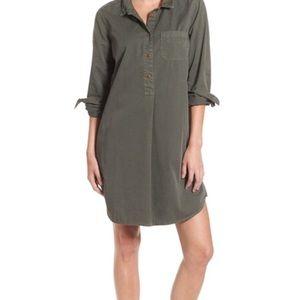Madewell Garment Dye Green Cotton Shirtdress M
